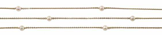 Gold chain with 10 pearls. - photo 1