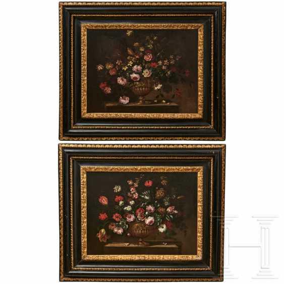 A pair of large flower still lifes, Roman School, Italy, 17th century - photo 1