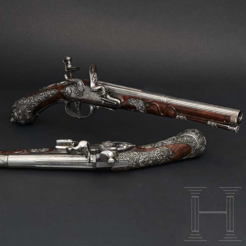 A pair of iron-cut stone pistols, Andrea Medecina in Brescia, around 1670 - photo 1
