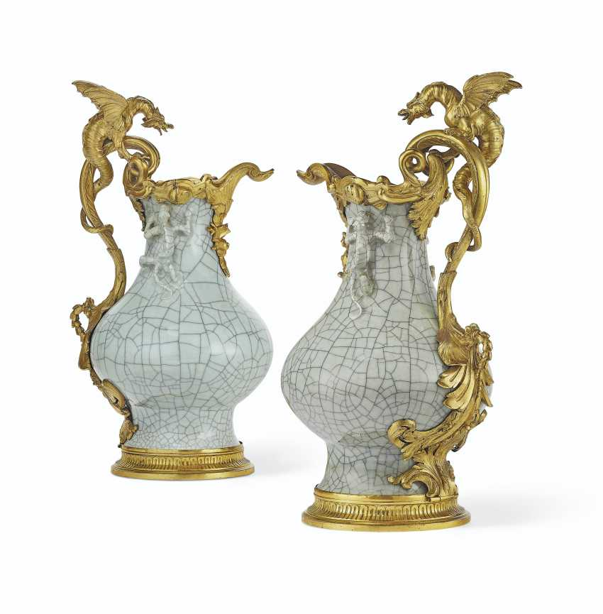 A PAIR OF ORMOLU-MOUNTED CHINESE CRACKLE-GLAZED CELADON PORC... - photo 1