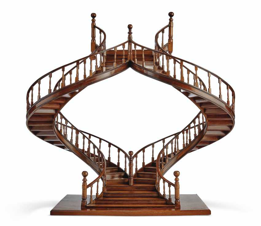 A MAHOGANY AND BOIS SATINE MODEL OF A STAIRCASE - photo 1
