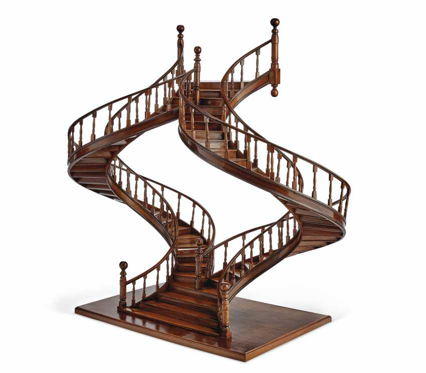 A MAHOGANY AND BOIS SATINE MODEL OF A STAIRCASE - photo 2