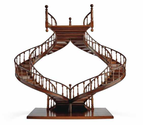A MAHOGANY AND BOIS SATINE MODEL OF A STAIRCASE - photo 3