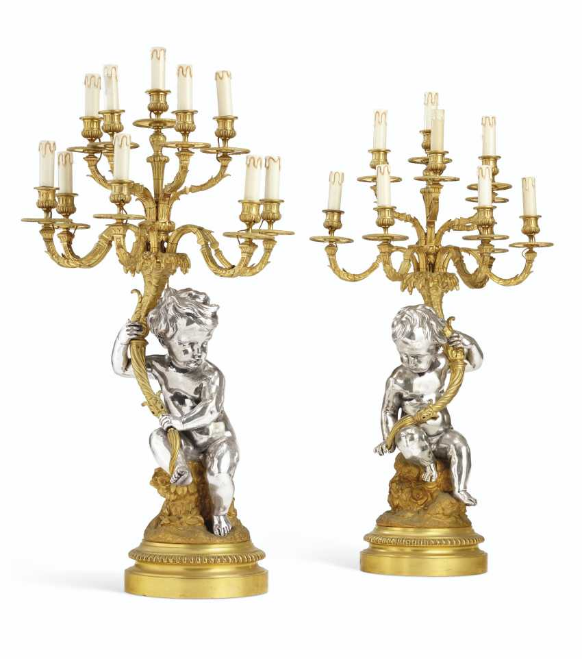 A PAIR OF NAPOLEON III ORMOLU AND ELECTROPLATE TEN-LIGHT CANDELABRA - photo 1