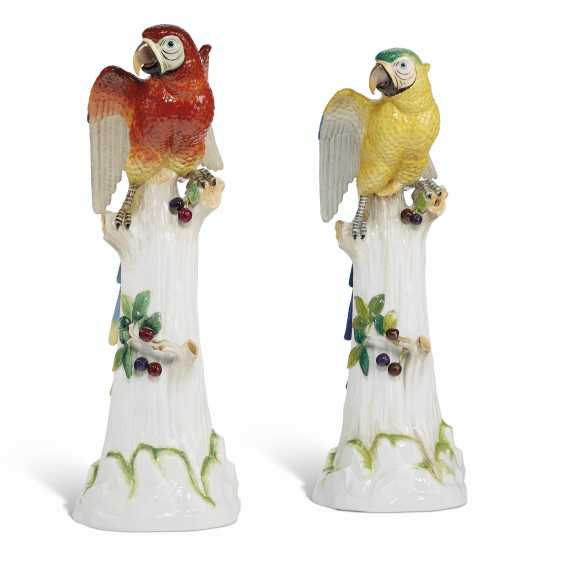 TWO LARGE DRESDEN (POTSCHAPPEL) MODELS OF PARROTS - photo 2