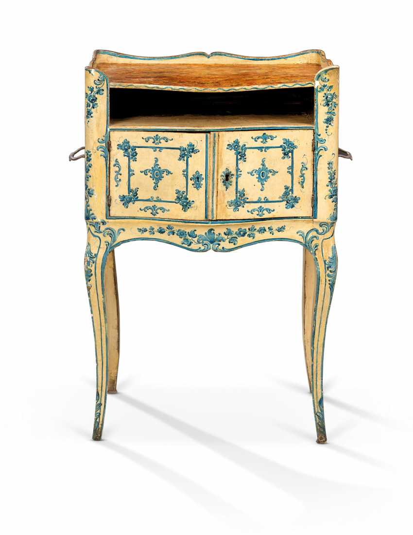 A NORTH ITALIAN ROCOCO BLUE AND WHITE 'LACCA' COMODINO - photo 1