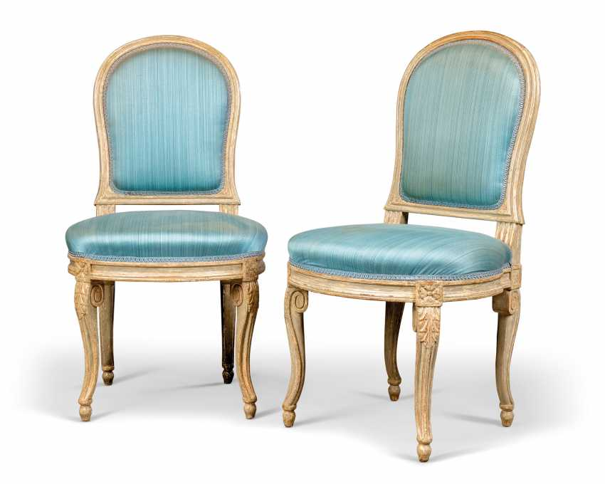 A PAIR OF LOUIS XVI GREY-PAINTED SIDE CHAIRS - photo 1