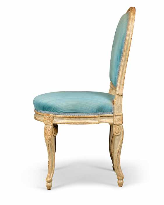 A PAIR OF LOUIS XVI GREY-PAINTED SIDE CHAIRS - photo 2