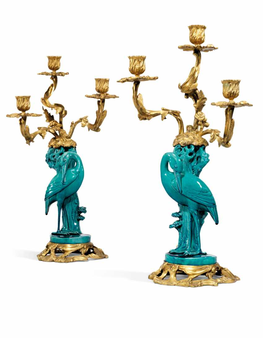 A PAIR OF ORMOLU-MOUNTED CHINESE TURQUOISE-GROUND PORCELAIN THREE-LIGHT CANDELABRA - photo 1