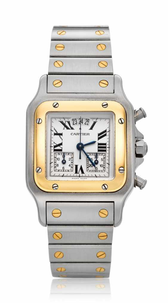 CARTIER, TWO-TONE MID-SIZE SANTOS GALBEE CHRONOFLEX, REF. 2524 - photo 1