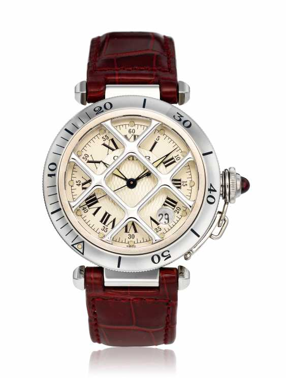 CARTIER, STEEL 150TH ANNIVERSARY LIMITED EDITION PASHA WITH GRILL, 1730/1847 - photo 1