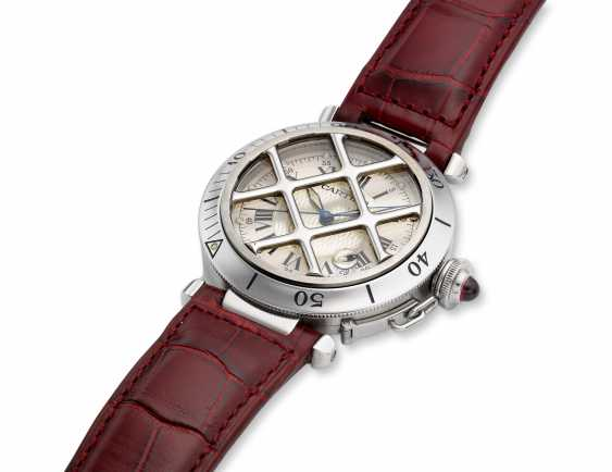 CARTIER, STEEL 150TH ANNIVERSARY LIMITED EDITION PASHA WITH GRILL, 1730/1847 - photo 2