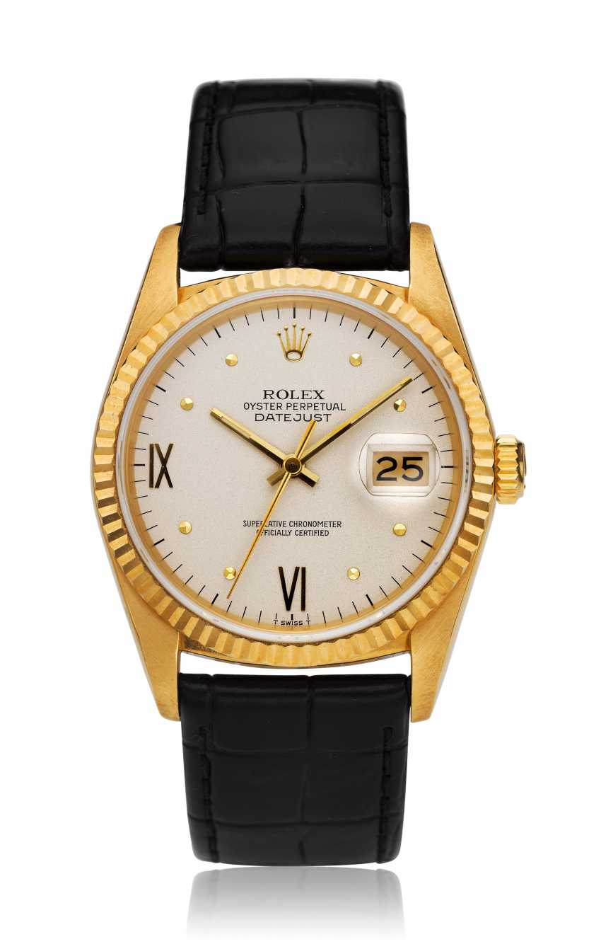 ROLEX, DATEJUST, 18K GOLD, RARE CYLINDRICAL PYRAMIDAL-TEMINATED INDEX DIAL, REF. 16018 - photo 1