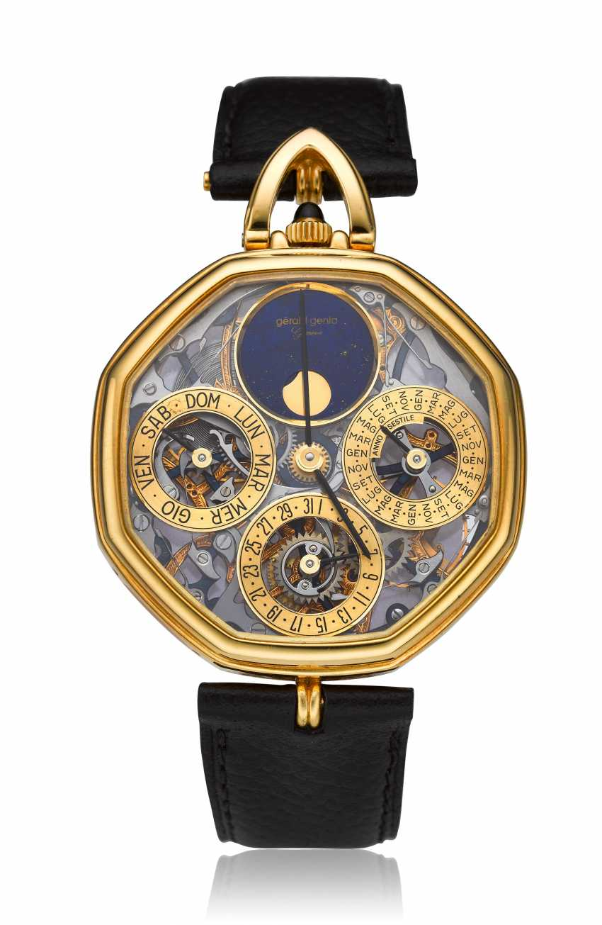 GERALD GENTA, A SKELETONIZED PERPETUAL CALENDAR WRISTWATCH WITH MOON PHASES - photo 1