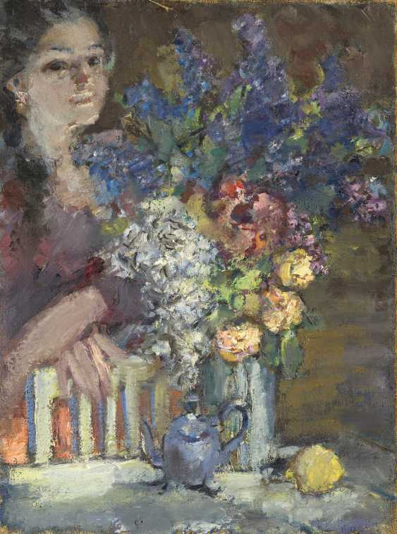Woman with Vase of Flowers - photo 1