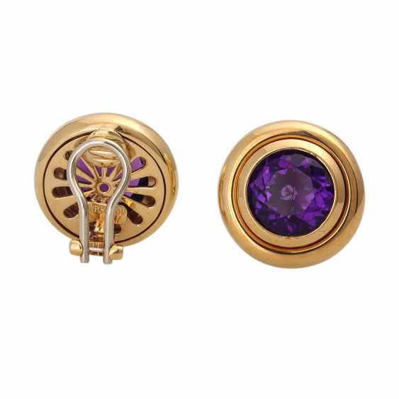 PLAFF AUCTION - 1 pair of ear clips, 18K, amethyst. - photo 3