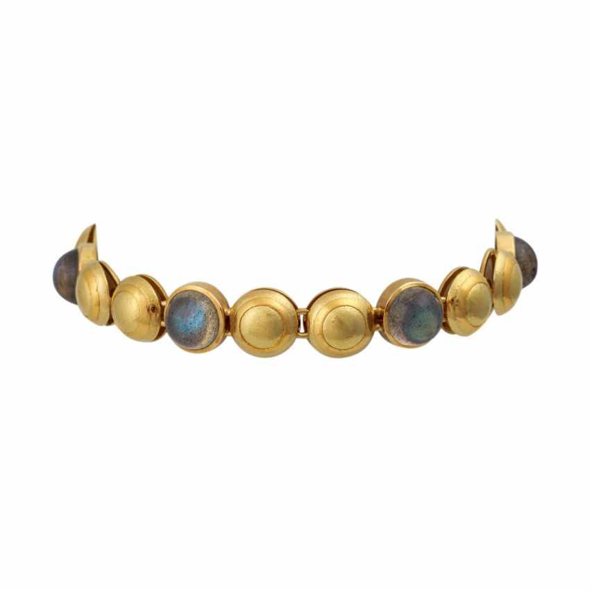 Bracelet with 6 round labradorite cabochons, - photo 1