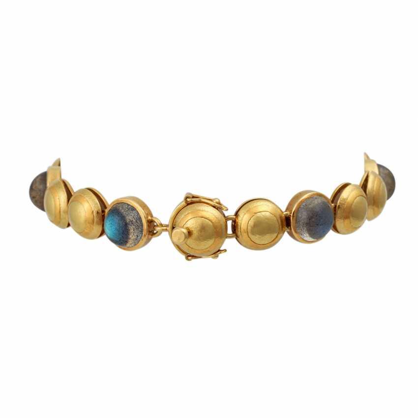 Bracelet with 6 round labradorite cabochons, - photo 2