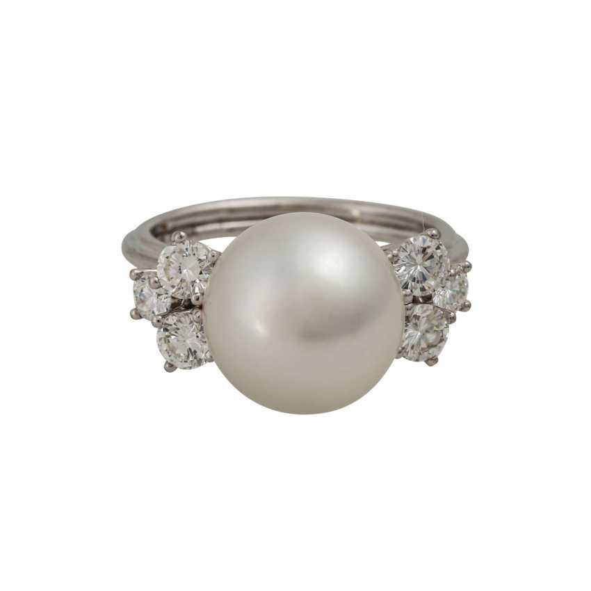Ring with white South Sea pearl approx. 11 mm, silver-colored overtone - photo 2