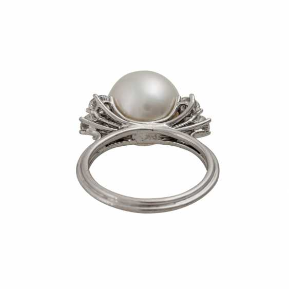 Ring with white South Sea pearl approx. 11 mm, silver-colored overtone - photo 4