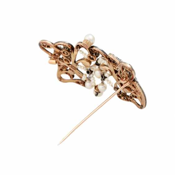 Art Nouveau brooch with old European cut diamonds totaling approx. 2.0 ct - photo 3