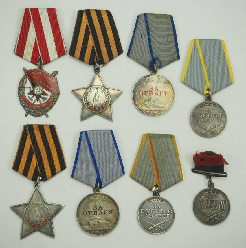 Soviet Union: Lot of 8 Awards for Valor and Merit. Various - photo 1