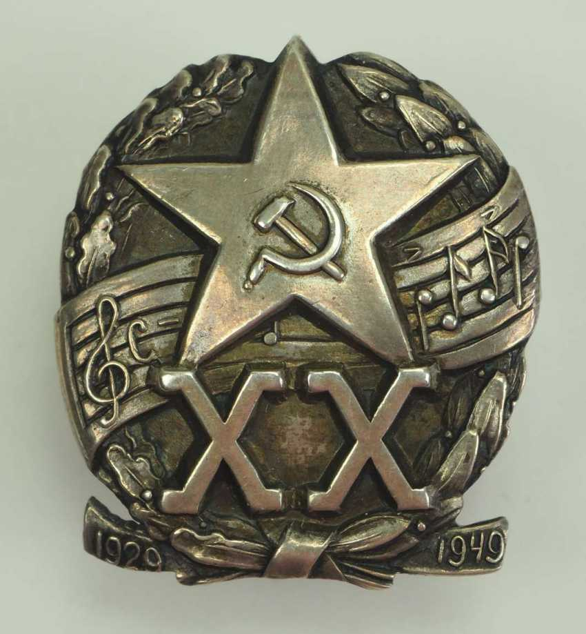 Soviet Union: commemorative badge for the 20th anniversary of the music troop of the Red Army. silver - photo 1