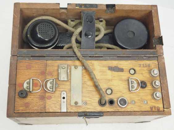 Czechslovakia: TEL30 field telephone. Wooden cabinet - photo 1