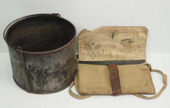 Russia: field crockery and bag 1916. 1.) Field crockery pot with handle - photo 1
