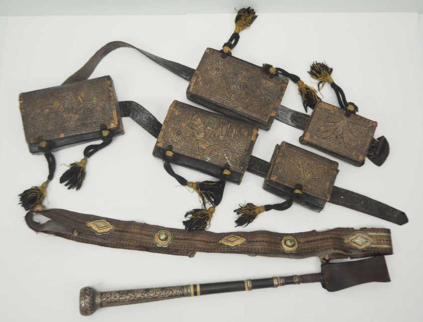 Caucasian: an officer's equipment. Belt with embroidered leather pockets - photo 1