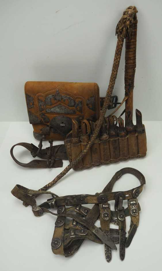 Caucasian: Equipment of a Kossak. Belt with cartridge holders and a bag with metal fittings - photo 1