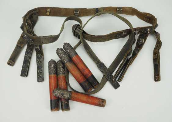 Caucasian: belts and cartridges. Leather belt with metal fittings - photo 1