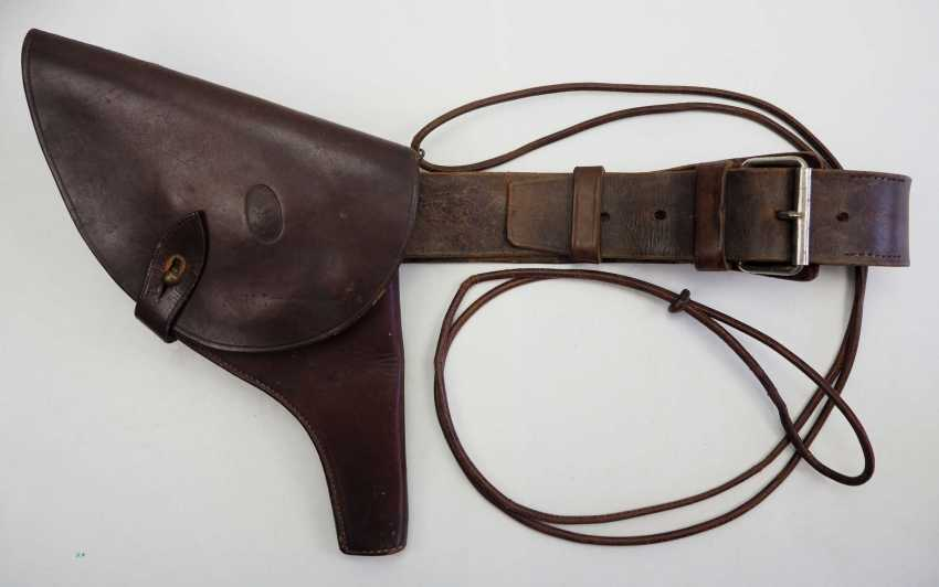 Russia: pistol holster with belt and belt. Brown leather - photo 1
