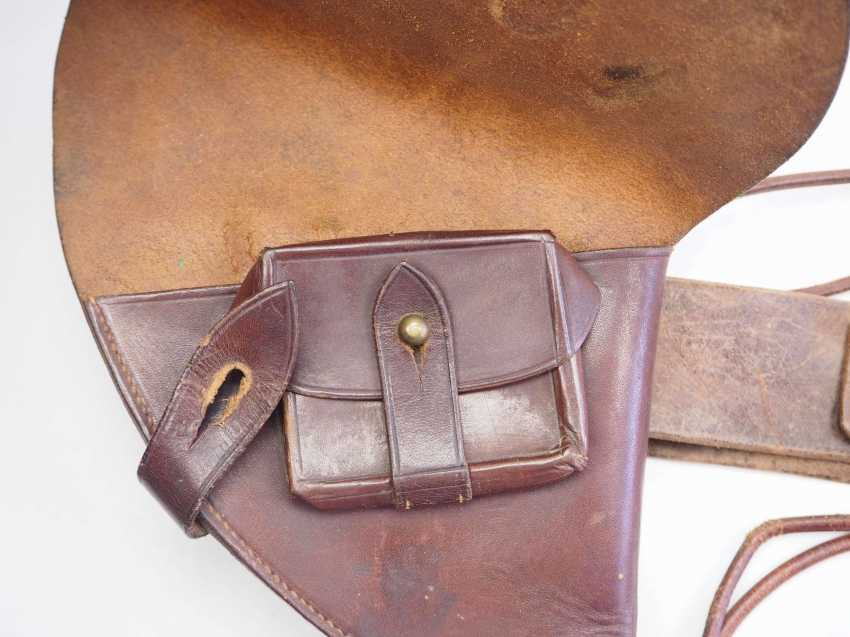 Russia: pistol holster with belt and belt. Brown leather - photo 3