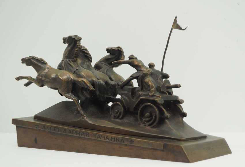 Soviet Union: Miniature memorial of the legendary Tatschanka (Kachowka). Red / bronze cast - photo 2