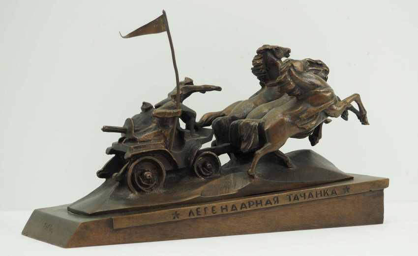 Soviet Union: Miniature memorial of the legendary Tatschanka (Kachowka). Red / bronze cast - photo 3