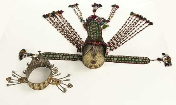 Two crown-like headgear made of silver with carnelian trimmings, partly gold-plated - photo 5