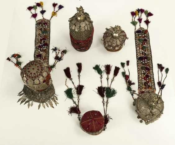 Group of five headgear of Turkmen girls and women - photo 2