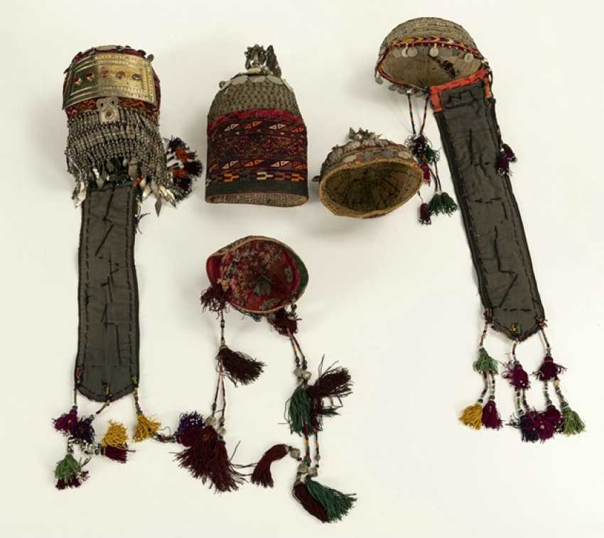 Group of five headgear of Turkmen girls and women - photo 3