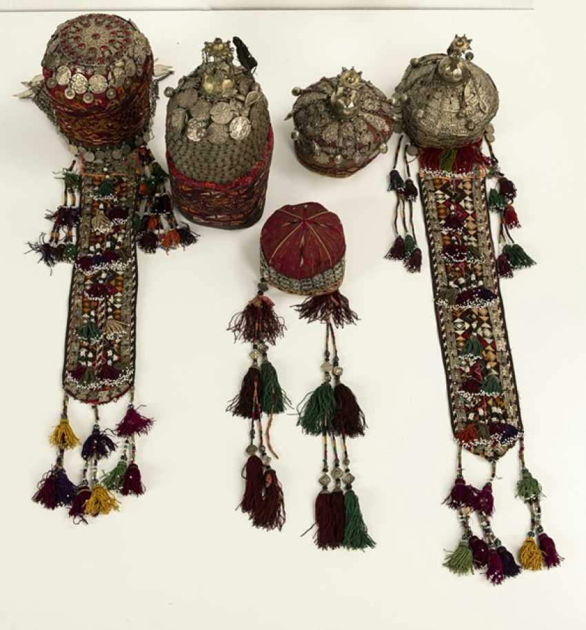 Group of five headgear of Turkmen girls and women - photo 4