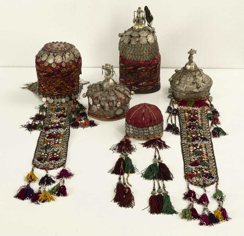 Group of five headgear of Turkmen girls and women - photo 5