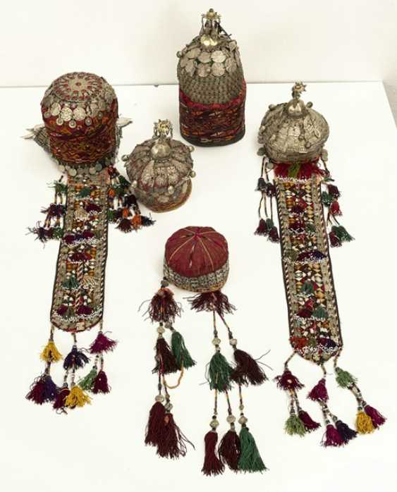 Group of five headgear of Turkmen girls and women - photo 6