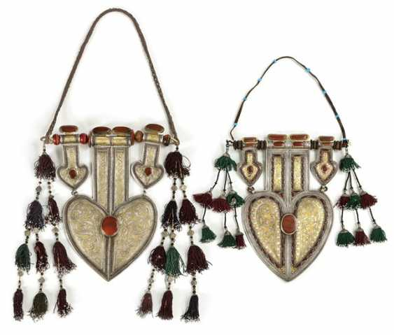 Two unusually large, heart-shaped pendants made of silver with partial gold plating and stones - photo 1