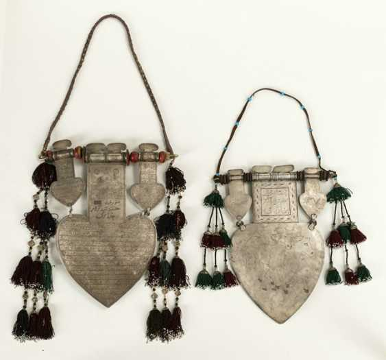 Two unusually large, heart-shaped pendants made of silver with partial gold plating and stones - photo 2