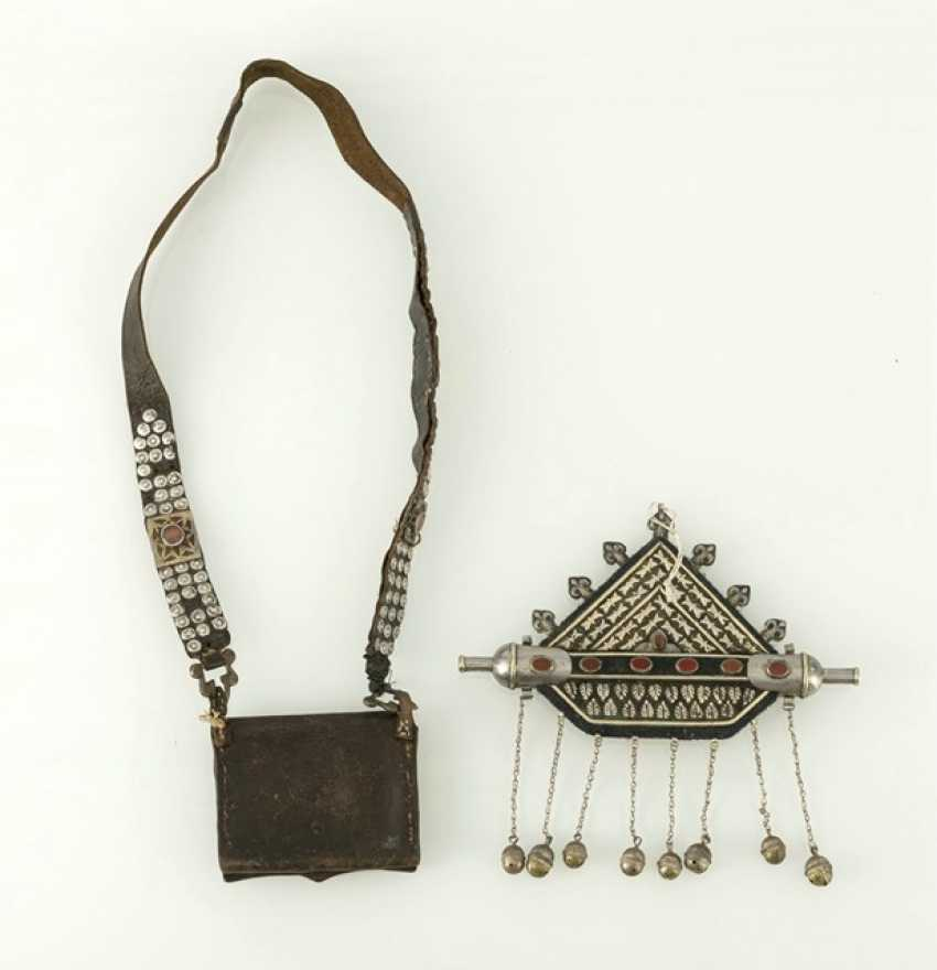 Quran bag with gold-plated silver plate and Tumar-style container - photo 2