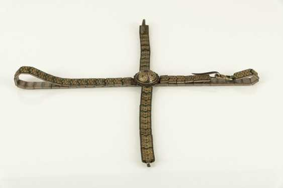 Magnificent belt for a rifle made of silver with niello decoration and leather, partly gold-plated - photo 2
