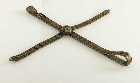 Magnificent belt for a rifle made of silver with niello decoration and leather, partly gold-plated - photo 3