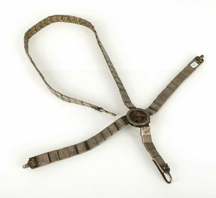 Magnificent belt for a rifle made of silver with niello decoration and leather, partly gold-plated - photo 5