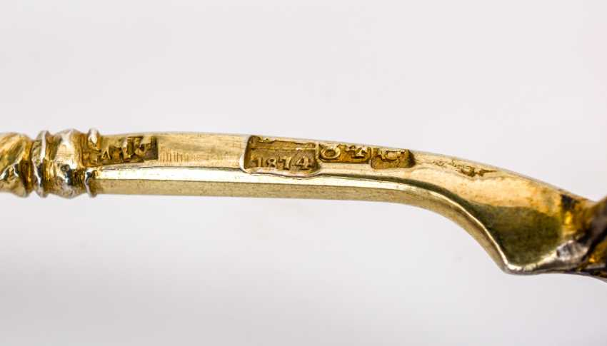 THREE GOLD-PLATED SILVER NIELLO SPOONS WITH CHURCH AND PALACE VIEWS - photo 2