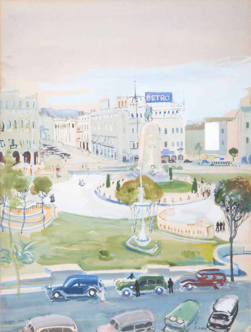 Ernst Huber (Vienna, 1895 - Vienna, 1960). Plaza San Martin in Lima - photo 1
